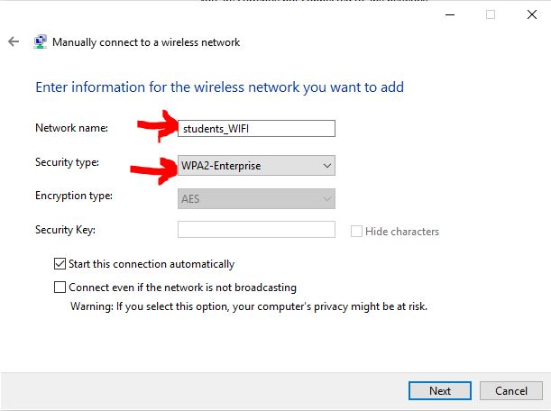 Students WiFi network select