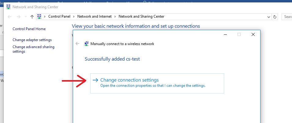 Windows 10 WiFi wireless - Manually connect to a wireless network change settings