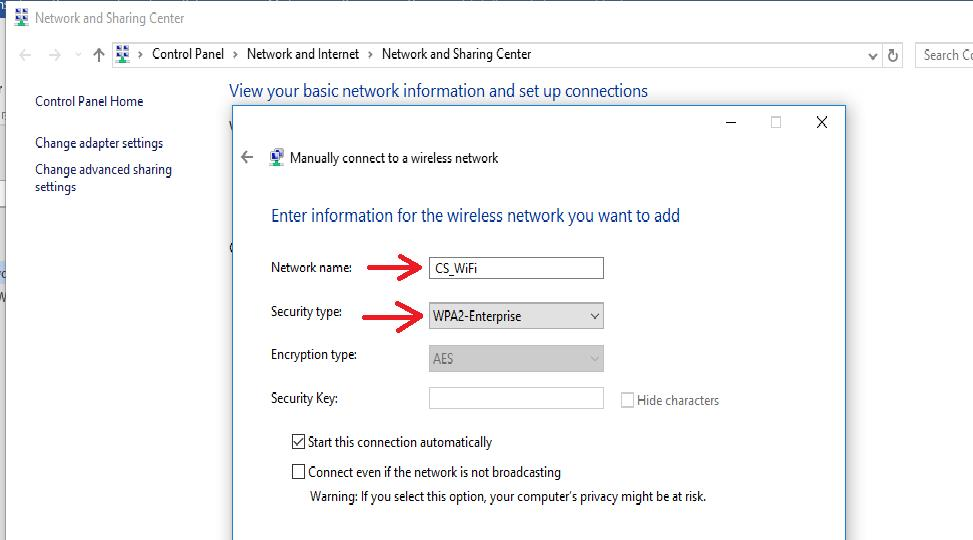 Windows 10 WiFi wireless - Manually connect to a wireless network select network