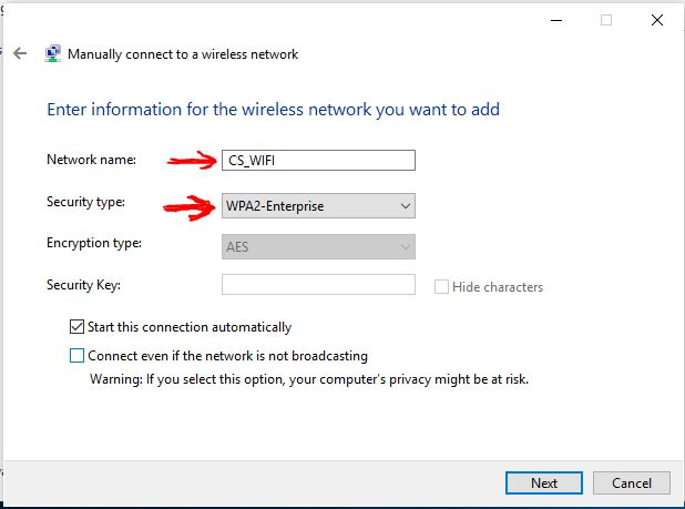 manually connect to cs_WIFI