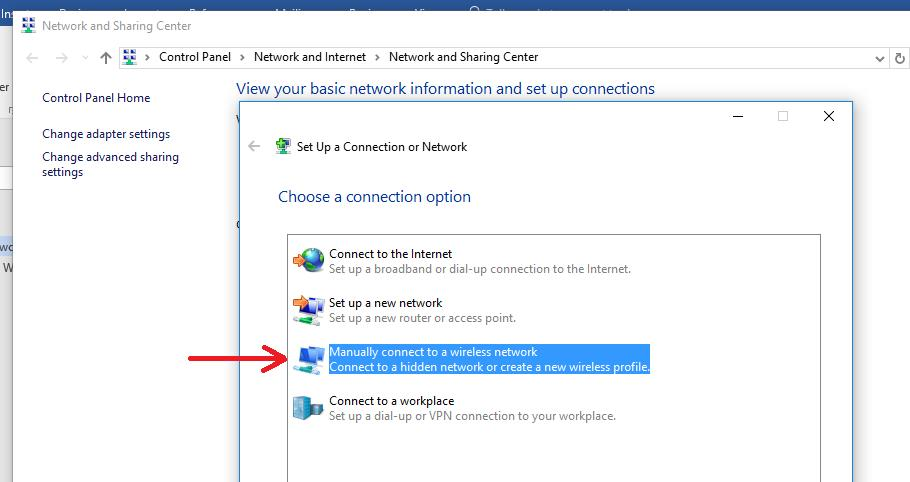 Windows 10 - Manually connect to a wireless network