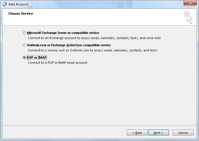 Outlook_2013_Choose_Service page
